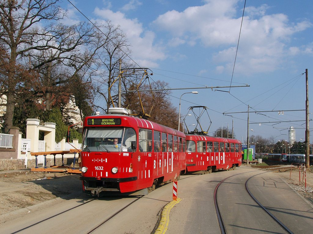 Fotogalerie » ČKD Tatra T3P 1632 | ČKD Tatra T3P 1633 | Brno | Pisárky | Hlinky