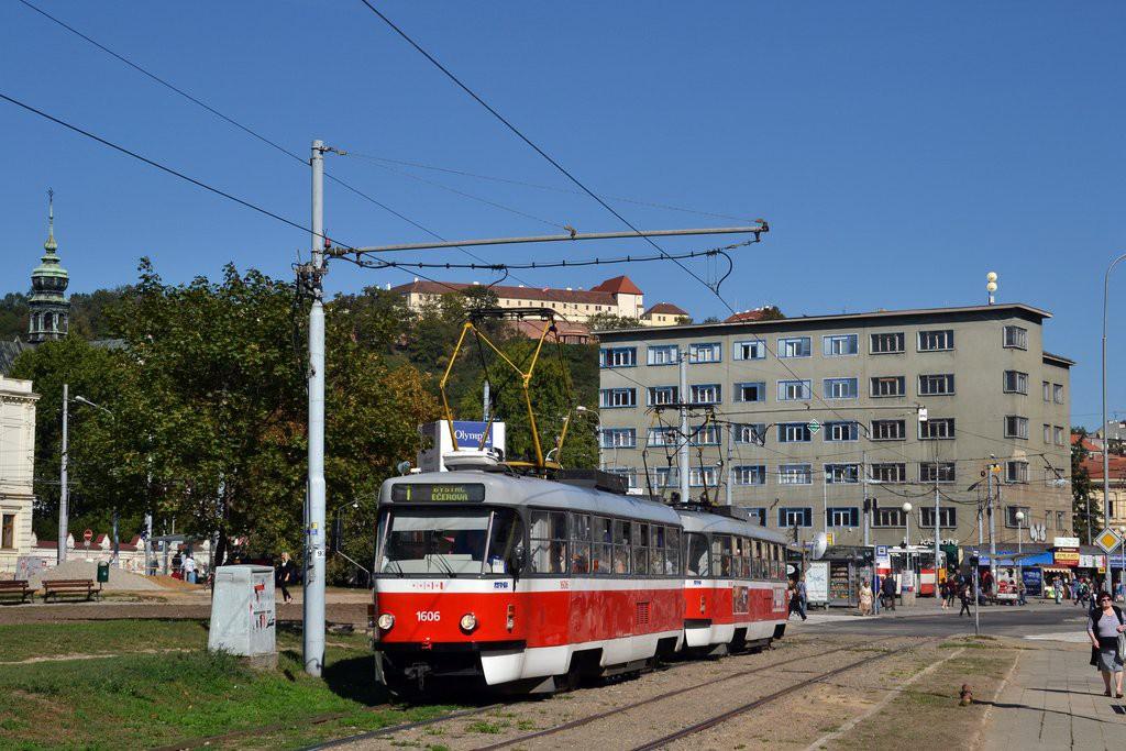 Fotogalerie » ČKD Tatra T3G 1606 | ČKD Tatra T3G 1608 | Brno | Staré Brno | Mendlovo náměstí